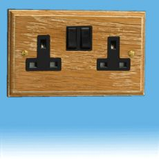 Varilight Kilnwood 2 Gang 13A Switched Socket Limed Oak Black Insert XK5LOB
